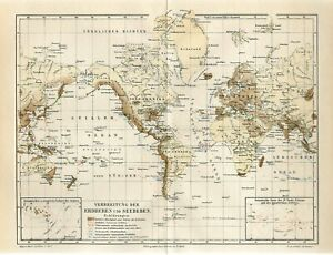 1895 WORLD EARTHQUAKES UNDER WATER QUAKES Antique Map