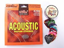 """1  SET A208  ACOUSTIC GUITAR STRINGS +12 GUITAR PICKS ! """"+ Free cleaning cloth """""""
