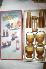 More details for breakfast set mahogany & ceramic egg cups salt & pepper & timer new 1960's ...u3