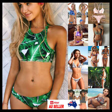 Women 2pcs Swimwear Bandage Bra Thong Bikini Set Push-up Padded Bathing Swimsuit