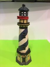 Vtg Cast Iron White Blue Stripe Light House With Hinged Door fr tea light candle