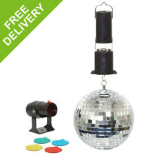 "Cheetah DJ Disco Party Mirror Ball with 4 Colour Mini Spot Light 6"" Inch"