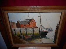 "JEANNE HILL SIGNED & FRAMED PAINTING OF FISHING HARBOR 29"" X 23""-GREAT CONDITION"