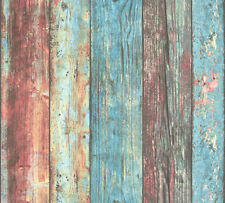 Non-woven Wallpaper wood colourful turquoise AS Creation 30723-1 (2,03£/1qm)