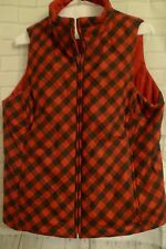 Jones New York Womens S Red Blue Plaid Reversible Puff Poly Vest NY