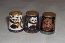 Pandas. 3 Metal Thimbles with Pandas