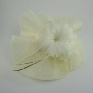 Bologna Sinamay Flower & Quill Fascinator Ivory (b187ivy)