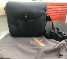 Camera bag . Grain black leather. Barber Shop. You are in good hands
