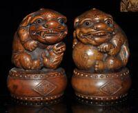 China Feng Shui Boxwood Wood carved Evil Door Fu Foo Dog Lion beast statue Pair