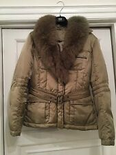 Beautiful Taupe Italian Coat With Detachable Fur Collar Sz M UK10/12