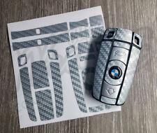 Gris Argenté CARBONE clé Autocollant superposé BMW1 3 5 6 SeriesZ4 X1 3 X5 X6