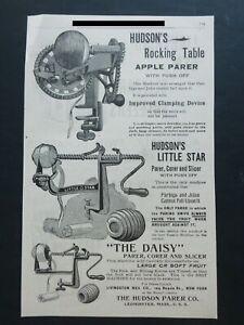 RARE 1898 Antique Ad - Hudson Parker Co. Apple Peeler Parer Corer Leominster MA