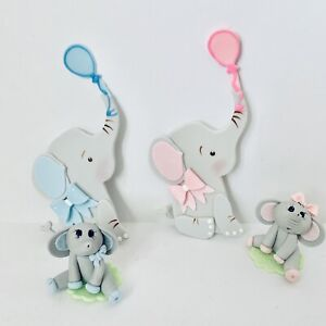 Elephant  Cake Topper And Flat Figurine Baby Shower,Party,Set.2 Pieces.