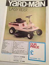 YARD-MAN Easy Rider Ride-on Rotary Mower Original 1980s Vintage Sales Brochure