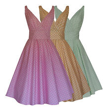 LADIES 1950's VINTAGE STYLE PASTEL POLKA DOT FLARED DRESS 3 COLOURS BNWT 8 - 22