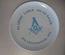 Masonic Plate Reading Lodge No 549 1876 Centennial 1976 Rare