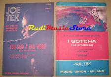 JOE TEX LOTTO 2 RARI SPARTITI SINGOLI 1972 73 Spiker Gotcha  bad word no cd lp