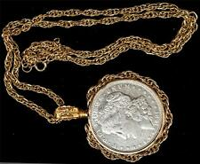 1921 Morgan Silver Dollar Necklace with 4mm Rope Gold Tone Fancy Bezel & 4 mm 24