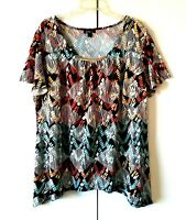 WOMEN'S ALYX MULTICOLOR SHORT FLUTTER SLEEVE SHARKBITE HEM STRETCHY TOP SIZE 3X
