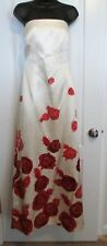 KAY UNGER BEIGE WITH RED FLORAL GOWN –Size 4