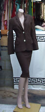 D&G Rare & Exquisite Dolce & Gabbana Brown Stretch Power Skirt Jacket Suit UK 8