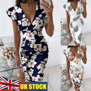 Womens Summer Casual Sexy Plus Size Bodycon Floral Midi Long Dress Evening Party