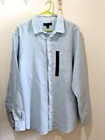 Mens Banana Republic L/S Light Blue Button Up Linen Slim Fit Shirt XL