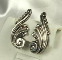 Signed MARGOT de TAXCO Sterling Earrings 1948 WAVE & BUBBLES Design # 5337 Fab!