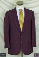 """(40R) Fantastic Burgundy Hopsack Blazer with Silver """"S"""" Buttons & Patch Pockets"""