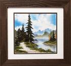 "Bob Ross ""Peaceful Morning"" Happy Trees CUSTOM FRAMED ART Nature Snow Print"