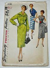 Vintage 1950s SIMPLICITY MISSES' 1-PIECE DRESS & JUMPER w/ JACKET PATTERN #1036