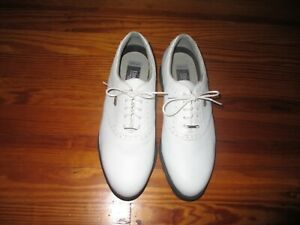 Etonic Difference Gore-Tex Lined Golf Shoes Size 8 1/2 M White on White Saddle