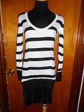 Victoria's Secret Black Striped Kiss of Cashmere Pleated Sweater Dress S/P NWT