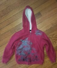 Children's Red Zip Up Long Sleeve Hoodie Tony Hawk Size 67 Pockets Fur Lining