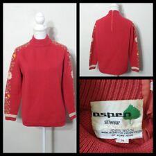 Aspen Skiwear Sweater Women s Med. 1960 s Vintage Red w  Floral Knit  Inv S8521 c8e17e24a