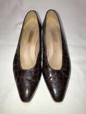 Talbots Dress Shoes Casual 8.5 narrow Brown Croc Print 1.5 Low Heel