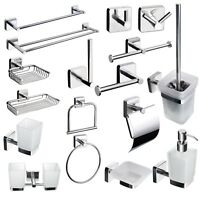SQUARE Style Bathroom Accessories Set Stainless Steel Self Adhesive or Drilling