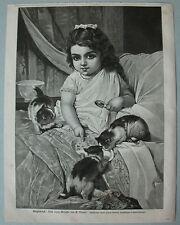 """Kind mit Katzen """" Morgenbesuch im Bett """" Stich, Holzstich nach E.Munier 1884"""
