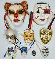 Vintage Mardi Gras Porcelain Masks Jester. Lot of 9 Awesome masks w/diff sizes.