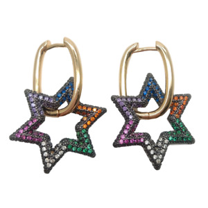 Star drop Hoop Earrings  Geometric Earring Rainbow CZ pave Gold Aretes Hoops