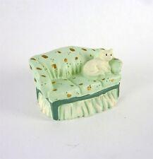 Dollhouse Miniature Quarter Scale 1:48 Cozy Green Sofa with Cat, MA9204