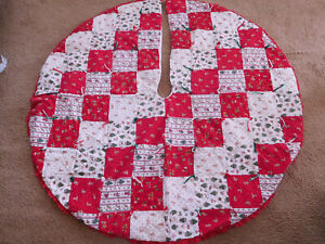 "Vintage Lg. 52"" Round Quilted Patchwork Christmas Tree Skirt  Holiday DESIGN~"