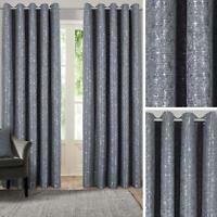 Grey Eyelet Curtains Metallic Jacquard Ready Made Lined Ring Top Curtain Pairs
