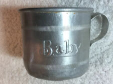 Vintage Tin Cup With Baby On Side
