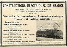 PARIS TARBES VENISSIEUX CONSTRUCTIONS ELECTRIQUES DE FRANCE PUBLICITE 1930