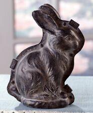 Primitive Antique Vtg Tin Style Easter Bunny Rabbit Resin Silver Chocolate Mold