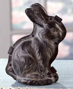 Primitive Antique Vtg Tin Style Easter Bunny Rabbit Resin Silver Chocolate Mold