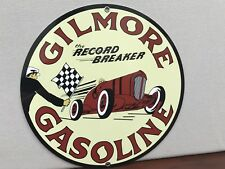 Gilmore Racing gasoline garage Oil Gas man cave  vintage round sign Reproduction