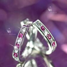 18k white gold gf made with Swarovski crystal huggies earrings u-shaped slim