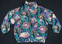 Vintage 80s 90s Baroque Crown Greek Royalty Full Zip Windbreaker Bomber Jacket L